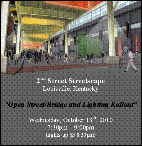 Leni Schwendinger Lighting for Louisville Bridge and Streetscape opening invitation